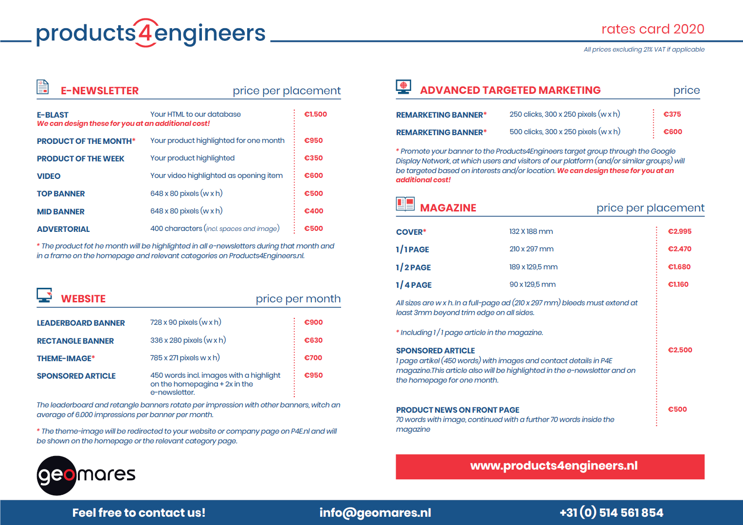 Products4Engineers infosheet 2020 - Front