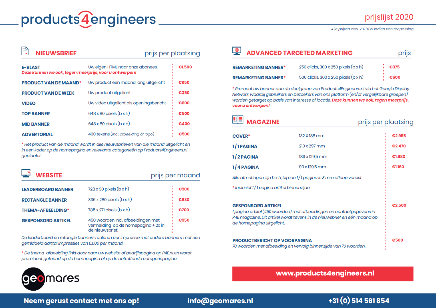Products4Engineers infosheet 2020 - Voorkant